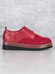 Praktické dámské polobotky červené bez podpatku