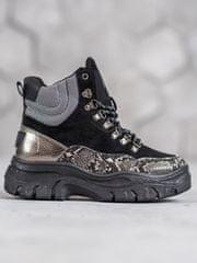 Vices Trendy dámské kotníčkové boty černé bez podpatku