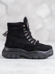 Vices Klasické dámské kotníčkové boty černé bez podpatku
