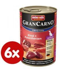 Animonda mokra hrana za starejše pse GranCarno, piščanec + puranje srce, 6 x 400g