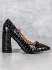 Vices Designové lodičky černé dámské na širokém podpatku