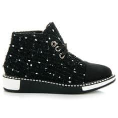 Originálne čierne členkové topánky na šnurovanie