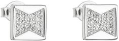 Evolution Group Strieborné náušnice pecka so zirkónom biely kosoštvorec 11043.1 striebro 925/1000