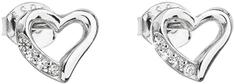 Evolution Group Stříbrné náušnice se zirkonem bílé srdce 11071.1 stříbro 925/1000
