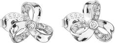 Evolution Group Stříbrné náušnice se zirkonem bílá mašlička 11095.1 stříbro 925/1000