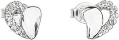 Evolution Group Strieborné náušnice 11020.1 biele srdce striebro 925/1000