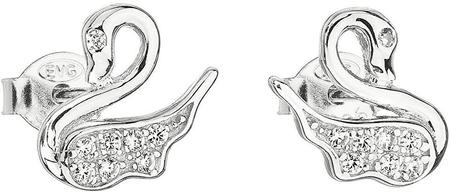 Evolution Group Srebrni uhani z cirkon belim labodom 11013.1 srebro 925/1000