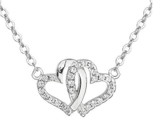 Evolution Group Strieborný náhrdelník biele srdce 12006.1 striebro 925/1000
