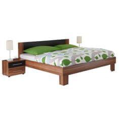 Manželská posteľ, s 2 nočnými stolíkmi, orech/čierna, 180x200, MARTINA