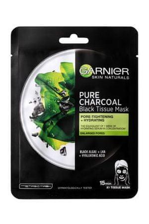 Garnier Čierna textilná maska s extraktom z morských rias Pure Charcoal Skin Natura l s (Black Tissue Mask)