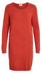 VILA Sukienka damska VIRIL L / S KNIT DRESS - NOOS Ketchup