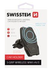 SWISSTEN magnetno držalo za telefon z brezžičnim polnjenjem WM1-AV3, 65010603