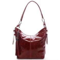 Delami Vera Pelle Exkluzivní dámská kožená kabelka Lady červená