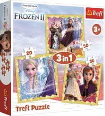 Trefl Puzzle Ľadové kráľovstvo 2: Sila Anny a Elsy 3v1 (20,36,50 dielikov)