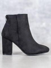 Vinceza Jedinečné kotníčkové boty dámské černé na širokém podpatku