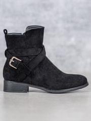 Krásné černé kotníčkové boty dámské na plochém podpatku