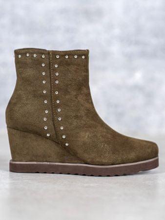 Klasické zelené kotníčkové boty dámské na klínku + dárek zdarma, odstíny zelené, 37