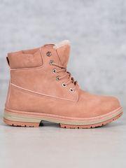 Designové růžové kotníčkové boty dámské na plochém podpatku