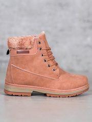 Stylové kotníčkové boty růžové dámské na plochém podpatku