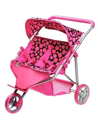 PLAYTO Sportovní kočárek pro 2 panenky PlayTo Klaudie růžový