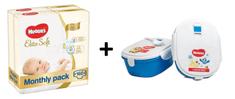 Huggies Elite Soft 2 Newborn (4-7 kg) 160 ks (2x80 ks) - Měsíční balení