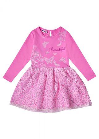 WINKIKI lány ruha 98, fehér/rózsaszín