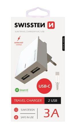 SWISSTEN 22043000 Smart IC, CE 2x USB, 3 A adapter za v vtičnico, bel