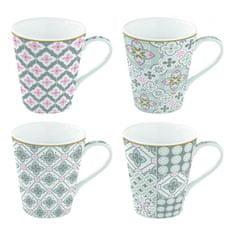 Easy Life porcelánové hrnky Tiles Grey 300 ml, dárková sada 4 ks