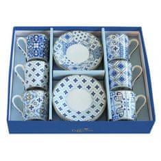 Easy Life porcelánové hrnky na espresso Tiles Blue, dárková sada 6 ks