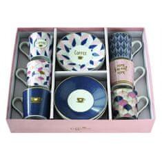 Easy Life porcelánové hrnky na espresso Home Sweet Home, dárková sada 6 ks