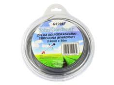 GEKO Struna do sekačky zesílená, 2,4mm, 50m, čtvercový profil, nylon