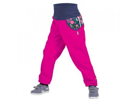 Unuo dekliške softshell hlače s flisom Street, motiv cvetlic, 116 - 122, roza