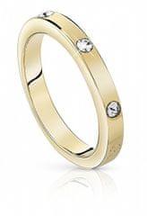 Guess Pozlačen prstan s kristali UBR84027