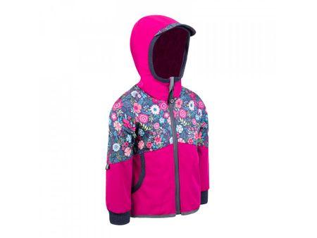 Unuo Street, lány softshell nadrág gyapjúval, virágmintás, 74 - 80, rózsaszín