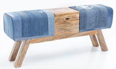 Bruxxi Denimová lavice s dřevěným boxem, 120 cm, modrá