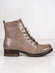 Moderní kotníčkové boty hnědé dámské na plochém podpatku