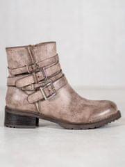 Luxusní hnědé kotníčkové boty dámské na plochém podpatku