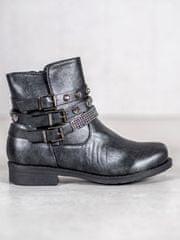 Krásné dámské kotníčkové boty šedo-stříbrné na plochém podpatku