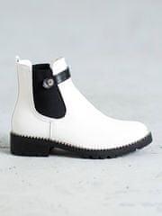Trendy kotníčkové boty bílé dámské na plochém podpatku