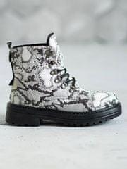 Klasické se zvířecím motivem kotníčkové boty dámské na plochém podpatku