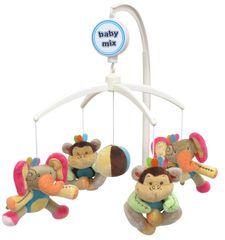 Baby Mix Pluszowa karuzela nad łóżeczko - Słonie i małpki