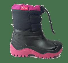 Ren But dziewczęce śniegowce z czarno-różowym sznurowaniem