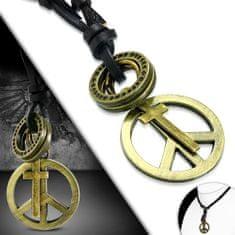 316Steel Kožený náhrdelník - Peace, Křížek CTH527