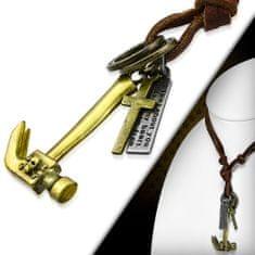 316Steel Kožený náhrdelník - Kladivo, Křížek CTH379