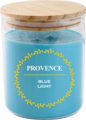 PROVENCE Sviečka v skle s viečkom 530 g Modré svetlo, 2 knôty