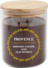 PROVENCE Sviečka v skle s viečkom 530 g Cigary a whiskey, 2 knôty