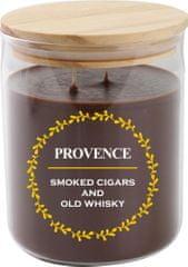 PROVENCE Sviečka v skle s viečkom 1000 g Cigary a whiskey, 3 knôty