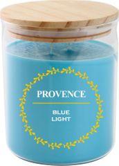 PROVENCE Sviečka v skle s viečkom 1000 g Modré svetlo, 2 knôty
