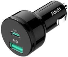 Aukey LLTS85695 auto punjač za brzo punjenje s priključcima USB 2.0 i USB-C, crni