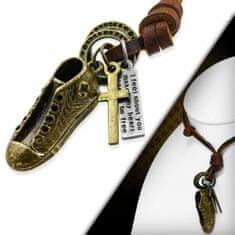 316Steel Pánský kožený náhrdelník - Teniska a Křížek